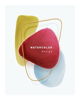 Elementos de diseño de portada de acuarela marco de forma de pincel aislado manchas azules y rojas amarillas vector d