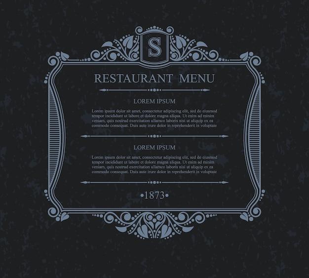 Elementos de diseño de restaurante de menú tipográfico, plantilla elegante caligráfica.