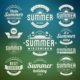 Elementos de diseño y símbolos de verano etiquetas e insignias tipográficas