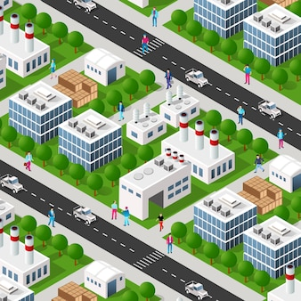 Elementos de diseño urbano isométrico industrial de fábrica de plantas de la ciudad