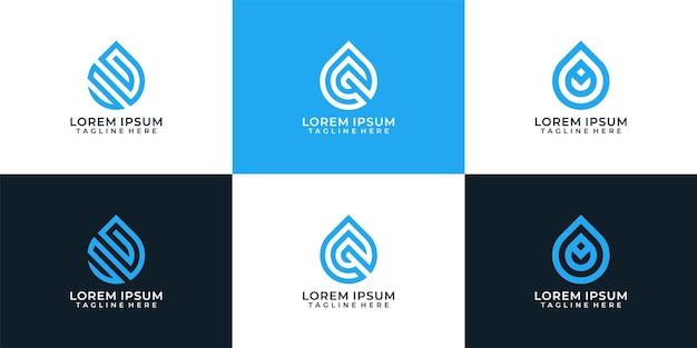 Elementos de diseño de vector de logotipo líquido gota de agua pura elegante minimalista ola