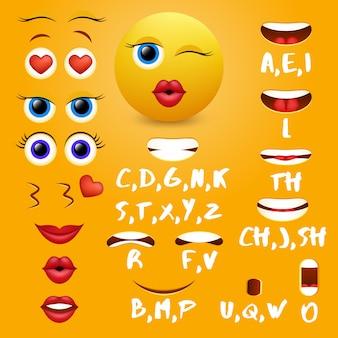 Elementos de diseño de vectores de animación de boca emoji femenino