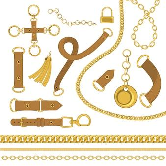 Elementos de diseño de vectores de cadenas y cinturones. ilustración de vector de estilo barroco