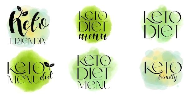 Elementos de diseño de vectores de dieta cetogénica. conjunto de insignias.