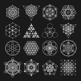 Elementos de diseño de vectores de geometría sagrada.