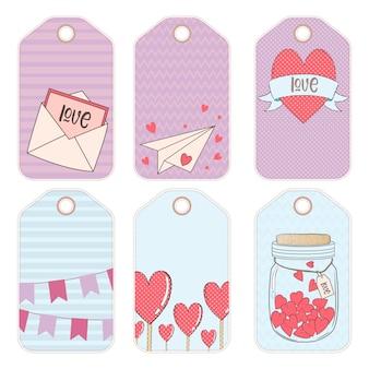Elementos de diseño vectorial para un regalo en el día de san valentín.