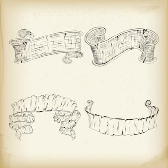 Elementos del diseño de la vendimia en viejo fondo de papel.