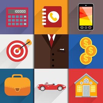 Elementos de diseño web con iconos de contabilidad.