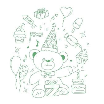 Elementos de doodle de cumpleaños aislados sobre fondo blanco ilustración vectorial