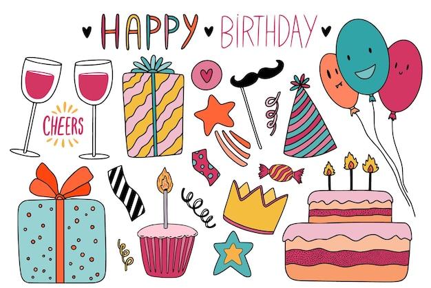 Elementos de doodle de feliz cumpleaños para tarjetas de felicitación y decoración navideña. diseños de pegatinas y pins kawaii.