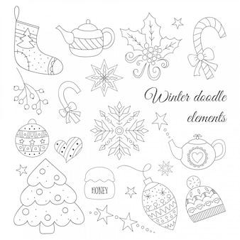 Elementos de doodle de invierno con árbol, tetera, juguetes, dulces, sombrero, calcetín