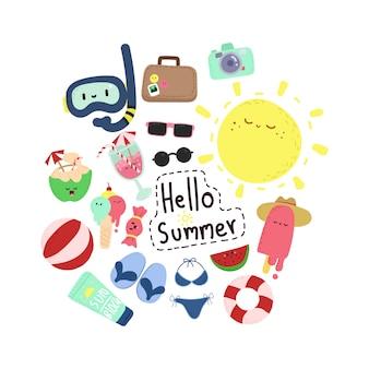 Elementos doodle de verano