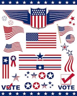 Elementos e iconos relacionados con el patriotismo americano.