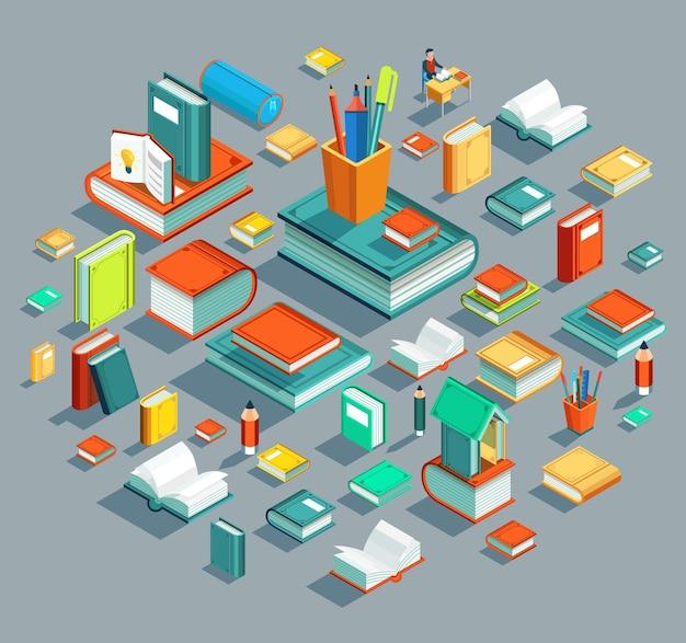 Elementos educativos en diseño plano isométrico
