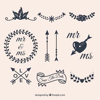 Elementos elegantes de boda