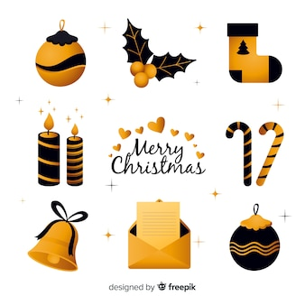 Elementos elegantes de navidad en negro y dorado