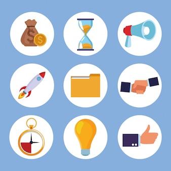 Elementos de elementos de coworking.