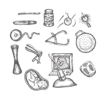 Elementos de embarazo dibujados a mano bocetos conjunto iconos de vector de maternidad