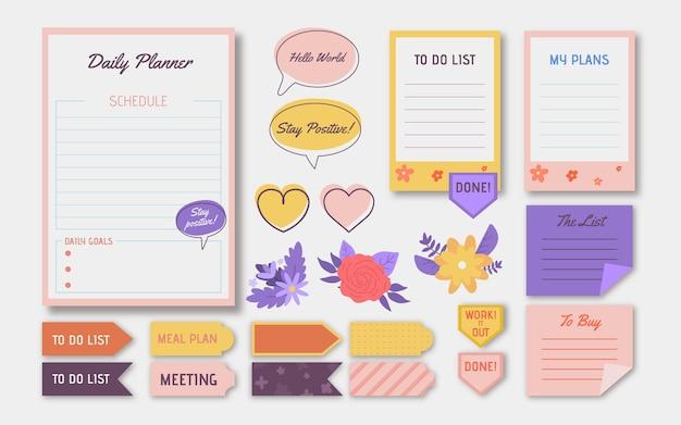 Elementos encantadores del libro de recuerdos del planificador