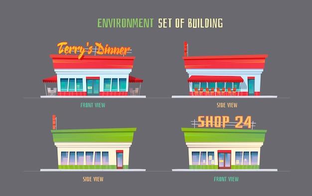 Elementos de entorno para juego, animación, ilustración.