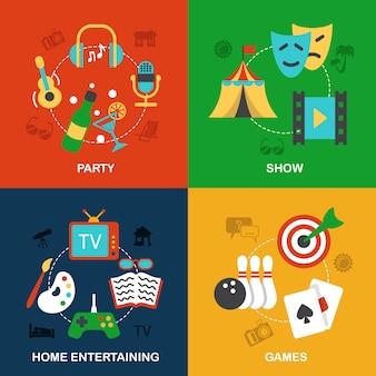 Elementos de entretenimientos planos.