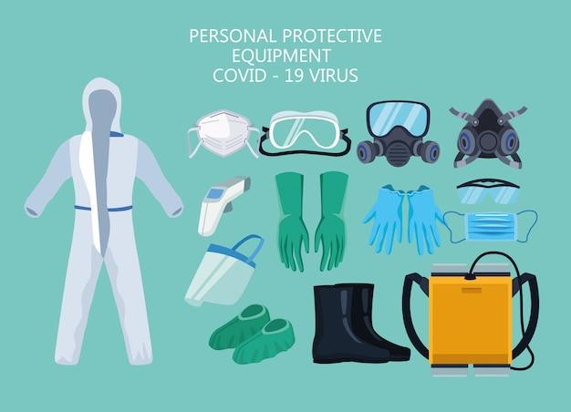 Elementos del equipo de bioseguridad para protección covid19