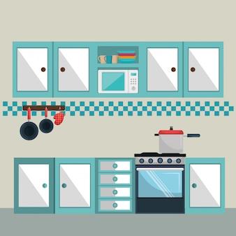 Elementos de escena moderna de cocina