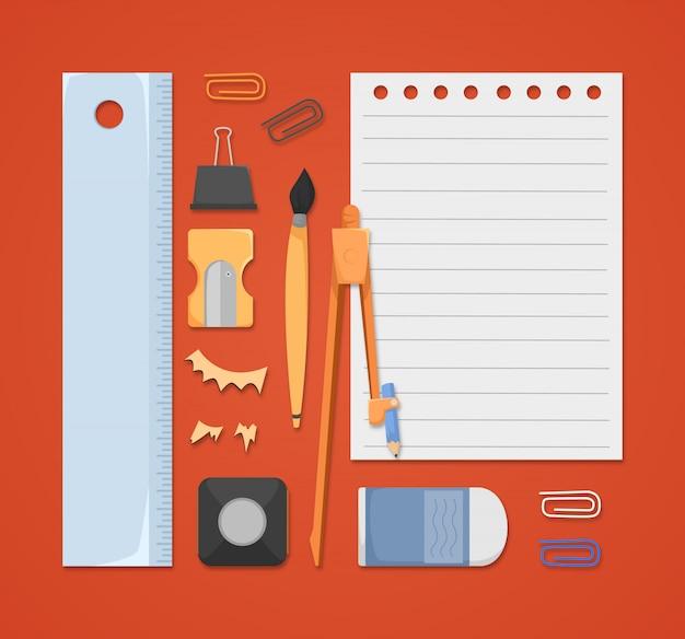 Elementos escolares en estilo plano