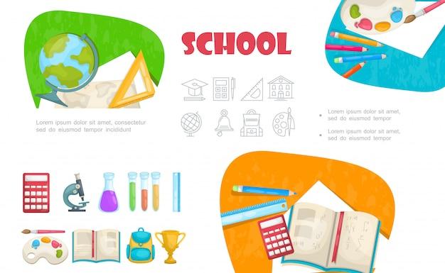 Elementos escolares planos con regla de globo, paleta de pintura, lápices, libros, calculadora, tubos de ensayo, microscopio, bolsa, taza