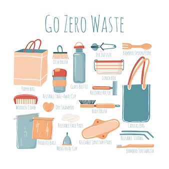 Elementos esenciales del estilo de vida zero waste con texto de subtítulos