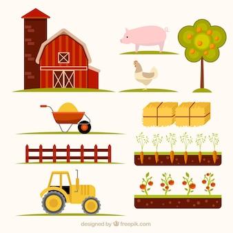 Elementos esenciales de granja dibujados a mano