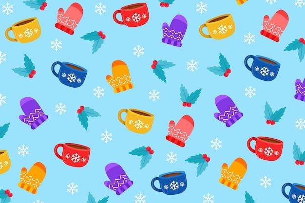 Elementos esenciales de invierno sobre fondo azul.