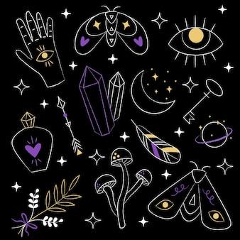 Elementos esotéricos aislados sobre fondo negro