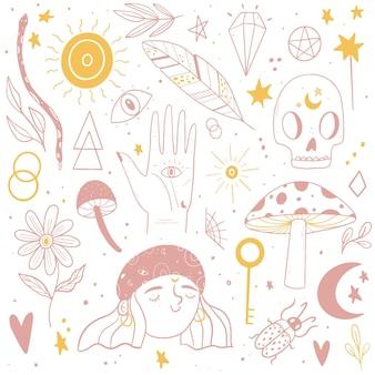 Elementos esotéricos dibujados a mano en colores pastel.