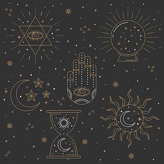 Elementos esotéricos diseño dibujado a mano