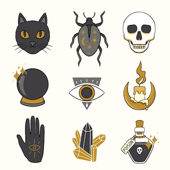 Elementos esotéricos gato negro y objetos de brujas
