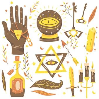 Elementos esotéricos en tonos marrones y dorados.