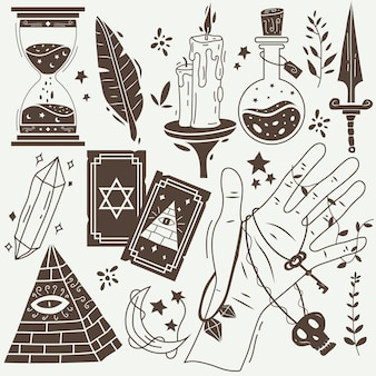 Elementos esotéricos en tonos sepia.