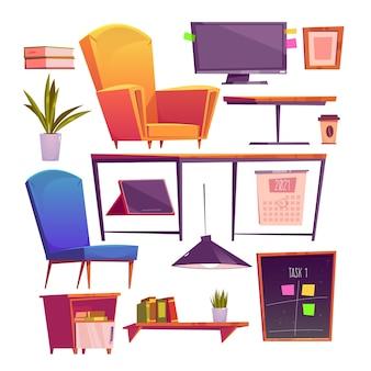 Elementos de espacio de coworking de dibujos animados