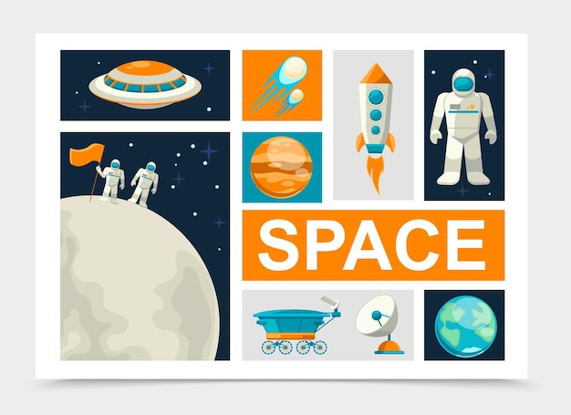 Elementos del espacio plano con astronautas de pie en la superficie de la luna, cometas cohete, planetas tierra y marte, satélite ovni, rover lunar, cosmonauta aislado