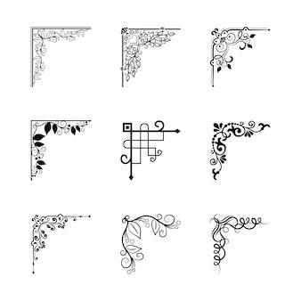 Elementos de esquinas vintage vectoriales para marcos para decoración de página