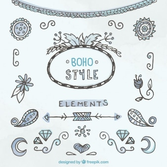 Elementos estilo boho decorativos dibujados a mano