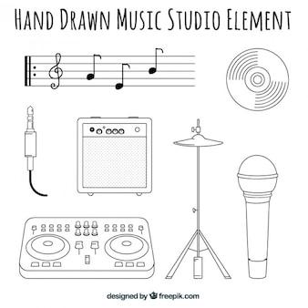 Elementos de un estudio de música dibujados a mano