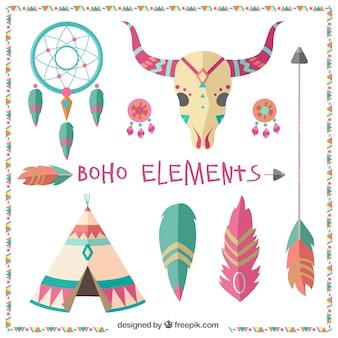 Elementos étnicos decorativos en diseño plano
