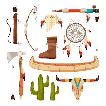 Elementos étnicos y tribales y símbolos de los indios americanos.