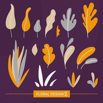 Elementos exóticos florales en estilo moderno.