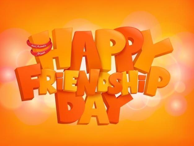Elementos felices del texto del diseño del día de la amistad en fondo brillante.
