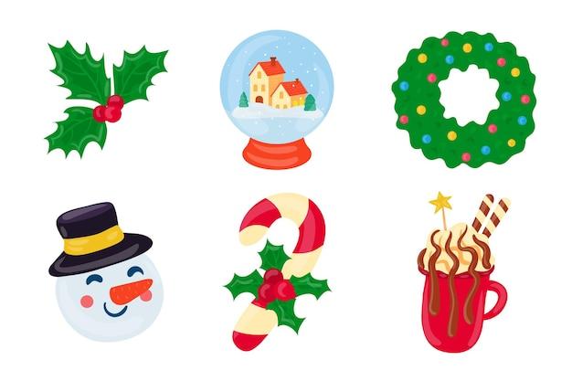 Elementos de feliz navidad dibujados a mano