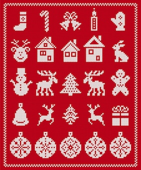 Elementos feos de navidad. vector. tejer patrón sin costuras. borde de navidad suéter. adorno de la isla de la feria con copo de nieve, ciervo, hombre de jengibre, árbol, muñeco de nieve, caja de regalo. impresión de punto