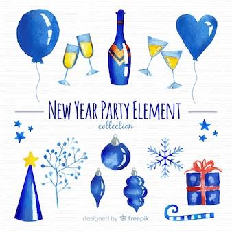 Elementos fiesta año nuevo acuarela